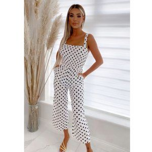 Polka Dot Sleeveless Shirred Ruched Cropped Culotte Wide Leg Jumpsuit